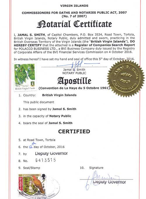 Apostille from the BVI