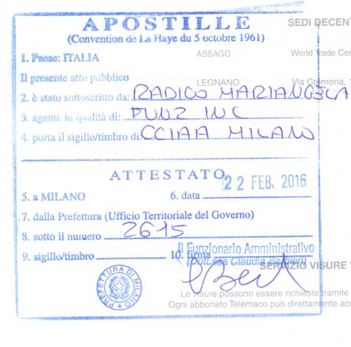Apostille from Italy