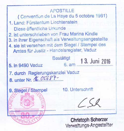 Apostille from Liechtenstein