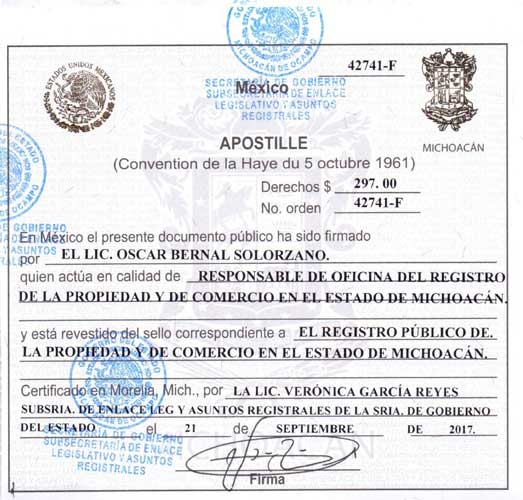 Apostille from Mexico