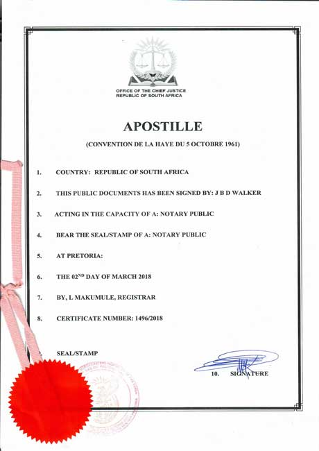 Apostille from South Africa