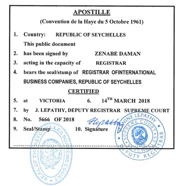 Apostille From The Seychelles