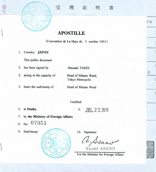 Apostille from Japan