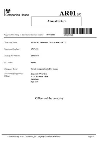 Company Record from commercial register of United Kingdom