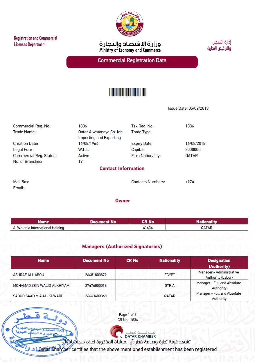Certified extract from commercial register of Qatar