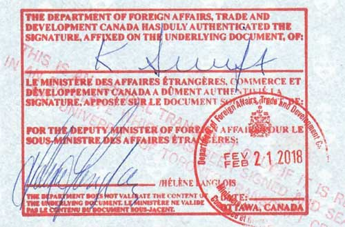Consular legalization  in Canada