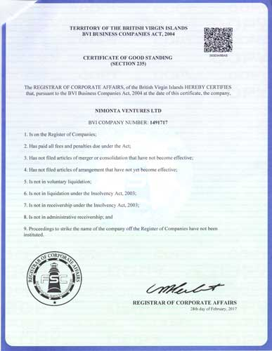 Certificate of Good Standingfrom commercial register of the British Virgin Islands