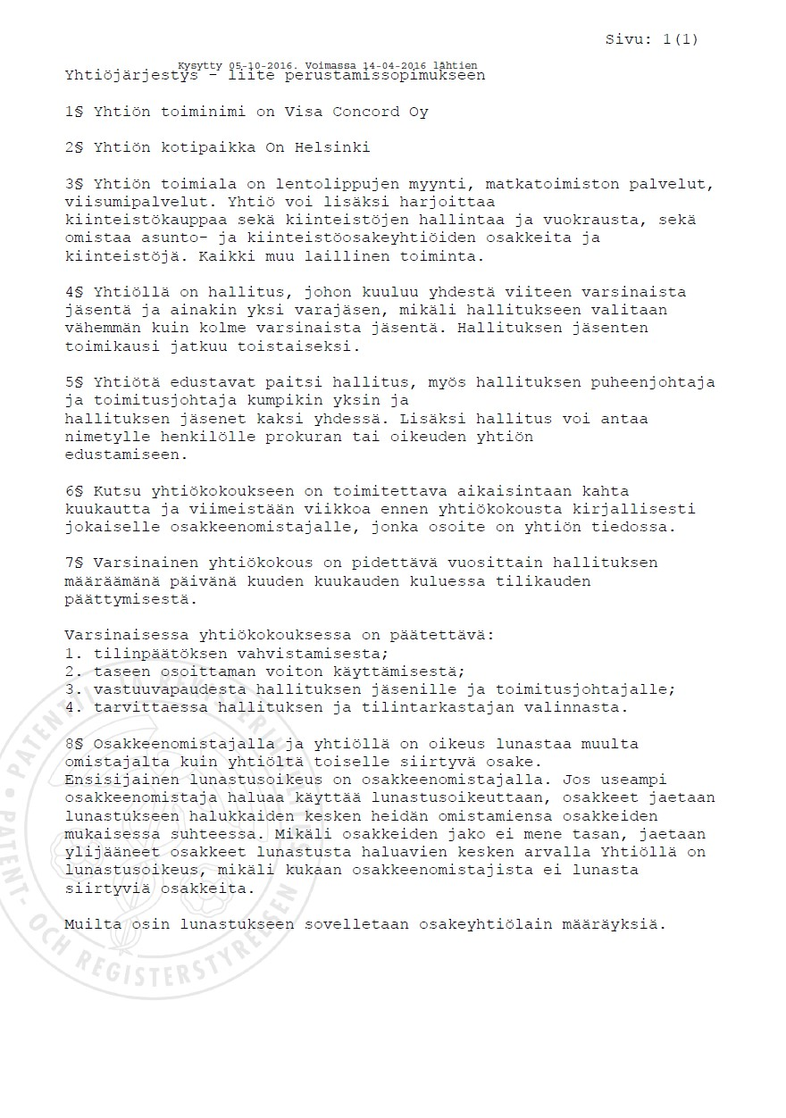 Charter documents from commercial register of Finland