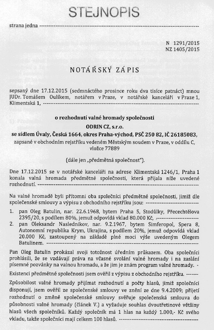 Company's charter from commercial register of Czech Republic