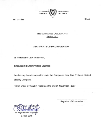 Certificate of Incorporation from commercial register of Cyprus