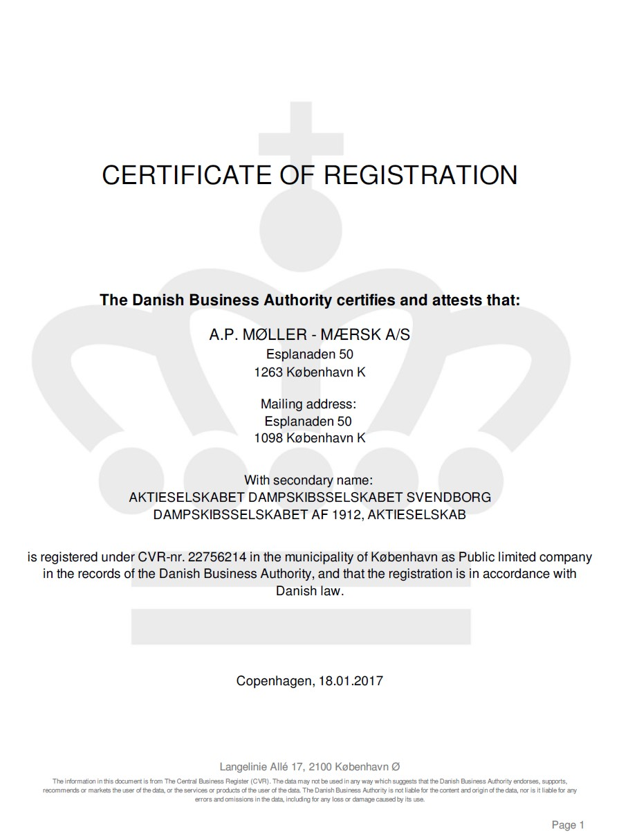 Certificate of registration from commercial register of Denmark