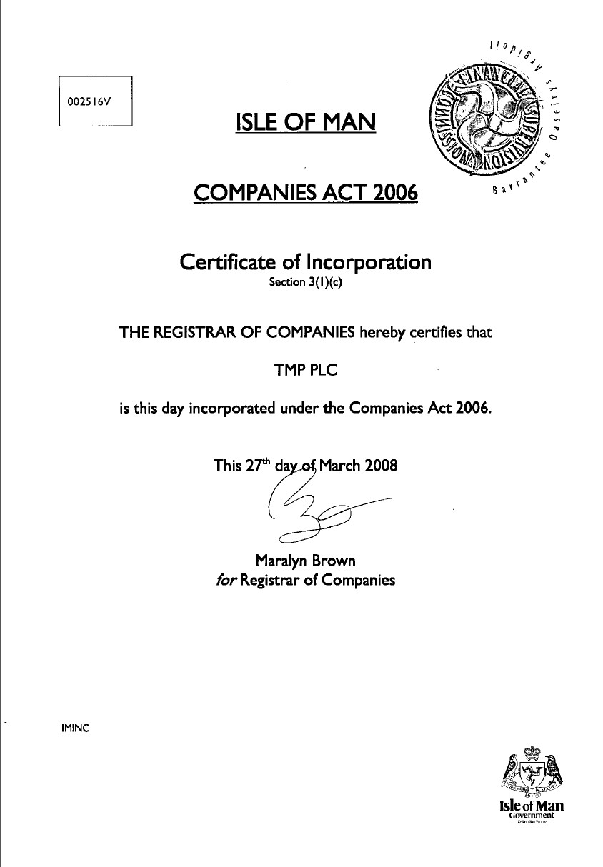 Certificate of Incorporation from commercial register of Isle of Man