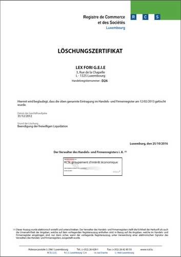 Certificate of Dissolution from commercial register of Luxembourg