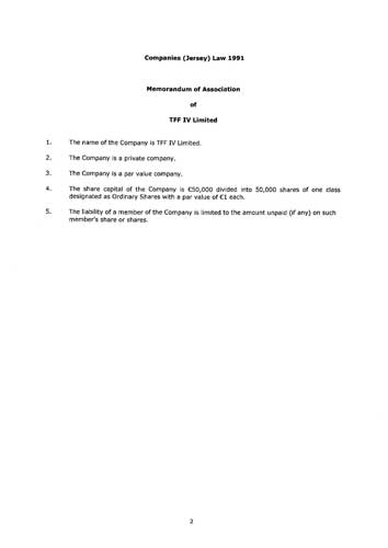 Memorandum and Articles of Association from commercial register of Jersey