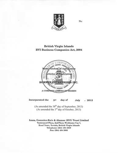 Memorandum and/or Articles of Association from the commercial register of the British Virgin Islands